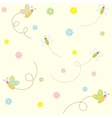 Seamless pattern with cute insects and flowers vector image vector image