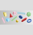 set colorful 3d geometric shapes isolated on vector image vector image