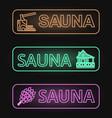 set of neon sauna banners vector image vector image