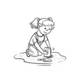 sketch girl play in sandbox little child vector image