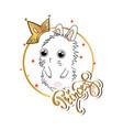 slogan print with cute bunny vector image vector image