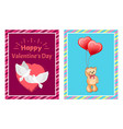 valentines day postcards with doves and toy bear vector image vector image