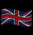 waving great britain flag mosaic of fire icons vector image vector image