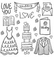 wedding element style hand draw in doodles vector image vector image