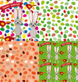 Happy Easter set of seamless pattern Rabbit eggs vector image
