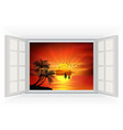 Open window on a beach background when sunset vector image