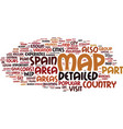 Areas on a detailed map of spain text background vector image