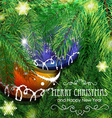 Baubles on christmas tree background vector image vector image