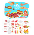 bbq party poster with icons vector image vector image