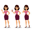beautiful business woman set vector image