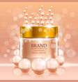 beauty cream with pearls and bubbles on peach vector image vector image