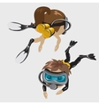 Boy and girl divers in masks cartoon characters vector image vector image