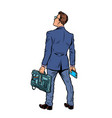 businessman with briefcase and phone isolate on vector image vector image