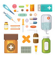 cartoon medicaments different medical pills and vector image vector image