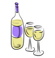 champagne with glasses on white background vector image
