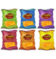 Cheese snacks in six color bags vector image vector image