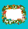 christmas holiday greeting card frame vector image
