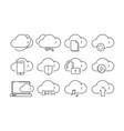 cloud computing icons secure web online storage vector image vector image