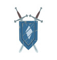 coat arms on escutcheon or shield with crossed vector image