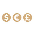coins dollar euro pound sterling currency symbols vector image vector image