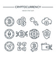collection of cryptocurrency line icons virtual vector image vector image