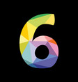 colorful number 6 isolated on black background vector image