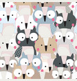 cute baby owl bird seamless pattern vector image