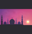 dark mosque silhouette on violet sunset sky smoky vector image vector image