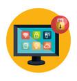 desktop computer controlling smart home vector image