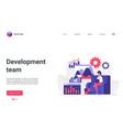 development people team working landing page vector image vector image