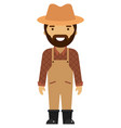 farmer flat icon isolated on white vector image