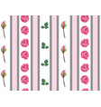 floral wallpaper with pink roses and stems pattern vector image vector image