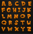 font design for english alphabets in brown color vector image
