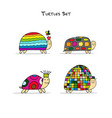 funny turtles set sketch for your design vector image vector image