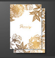 Gold wedding invitation with peonies buds and