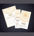 golden mandala boho style flyers vector image