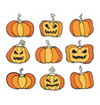 halloween pumpkin comic color set cartoon horror vector image vector image