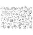 hand-drawn kids doodle set drawings vector image