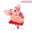happy dreaming piggy girl vector image