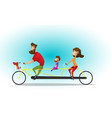 happy family riding a tandem bicycle vector image
