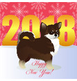 happy new year card with chihuahua vector image vector image