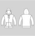 hoodie zip fastener man template front back vector image