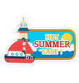 hot summer sale lighthouse ship background vector image vector image