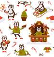 husky character celebrating christmas holidays vector image
