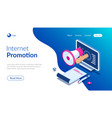 internet promotion isometric concept hand with vector image