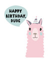 isolated flat birthday with lama vector image