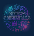 merry christmas thin line colored xmas vector image