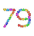 number 79 seventy nine of colorful hearts on white vector image vector image