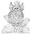 Old Owl on books- hand drawn doodle vector image vector image