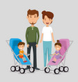 parents with kids avatars characters vector image vector image